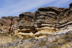PhD student Zach Sickmann checking out the sweet outcrops!