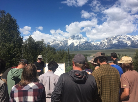 Dr. Lageson sharing his vast knowledge of Wyoming. Grand Teton National Park.